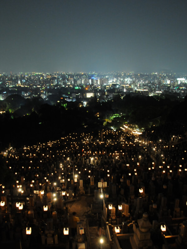 The view from Higashi Otani cemetery over Kyoto.