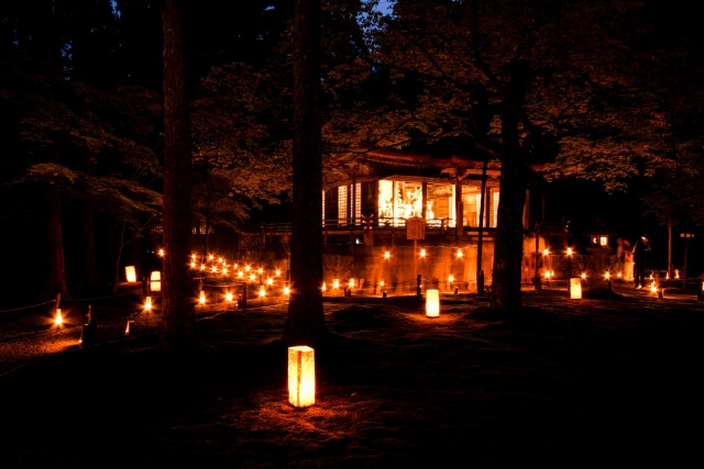 The lights at Sanzen-in temple.
