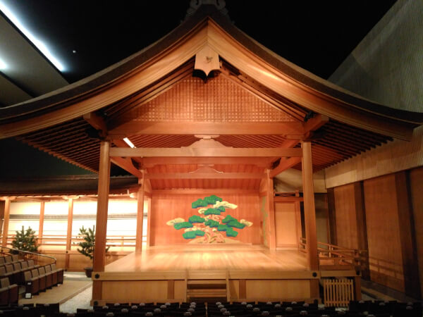 The traditional Noh stage in the main hall of the Kyoto Kanze Noh Theater.